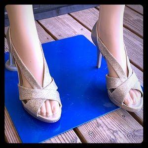 Fioni Night Gold Glitter Heels